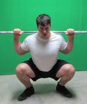 high bar squat front view bottom