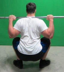 high bar squat position rear view bottom
