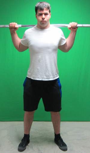 high bar squat position standing front view