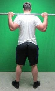 high bar squat position standing rear view