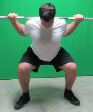 low bar squat front view bottom