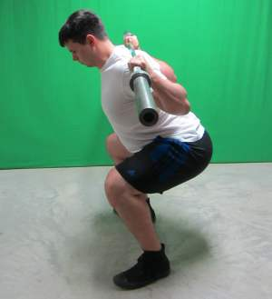 low bar squat side view bottom