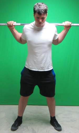 low bar squat position standing front