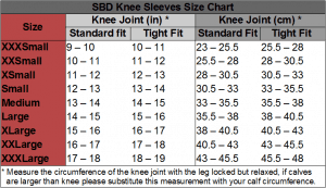 SBD Knee Sleeves Size Chart