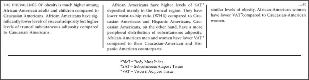African American body fat distribution