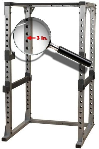 3 inch hole spacing on power rack