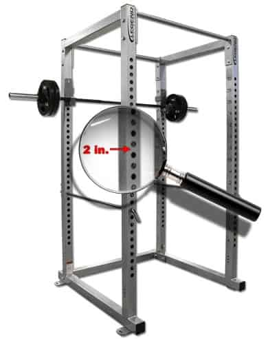 2 inch hole spacing on power rack