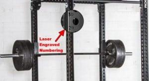 laser engraved hole numbering on power rack uprights