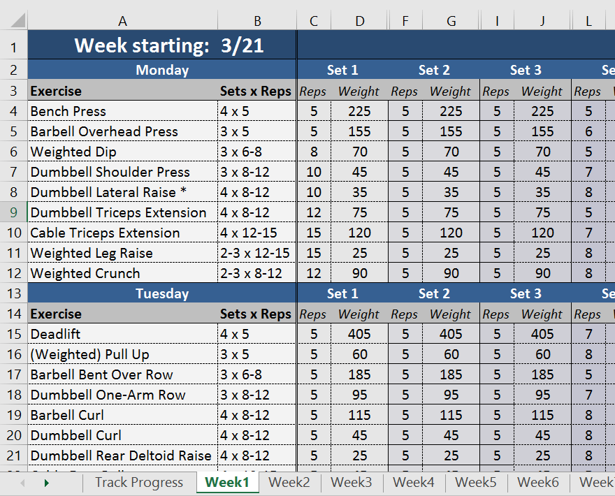 Sign Up To This Free Workout Log Spreadsheet