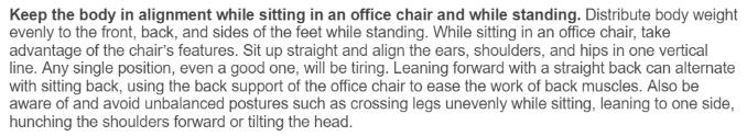 Kelley Andrews quote on proper office ergonomics
