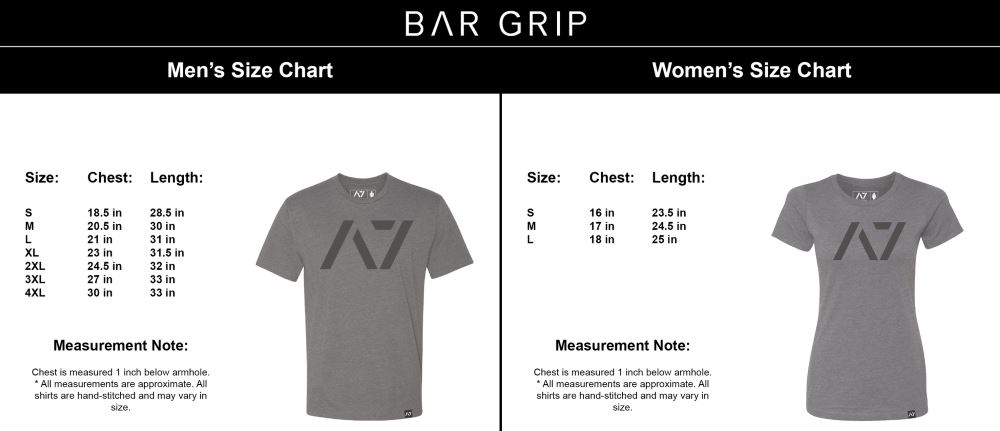 Bar Grip Full Size Chart for Men and Women