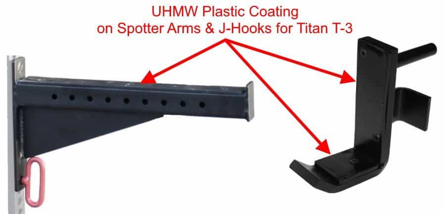 UHMW Coated Spotter Arms and J-Hooks for Titan T-3 Series HD Power Rack