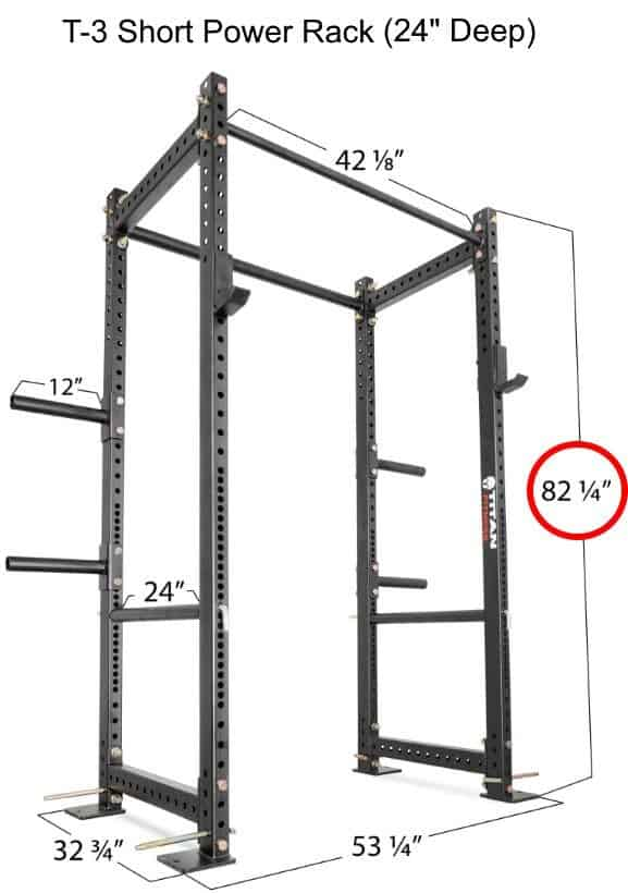 Titan T-3 Series Short Power Rack - 24 Inch Depth - Dimensions