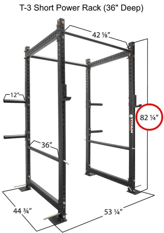 Titan T-3 Series Short Power Rack - 36 Inch Depth - Dimensions