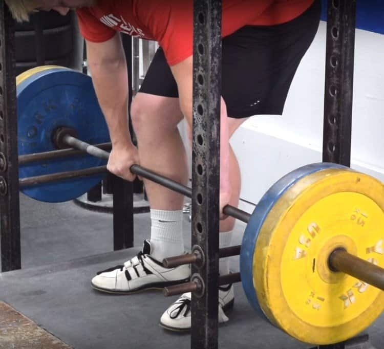 Rack Pull Starting Position with Hip Hinge - Side View, Closeup