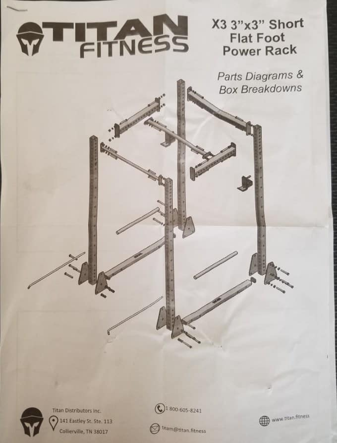 Titan X-3 Short Flat Foot Power Rack Instructions - Cover Page