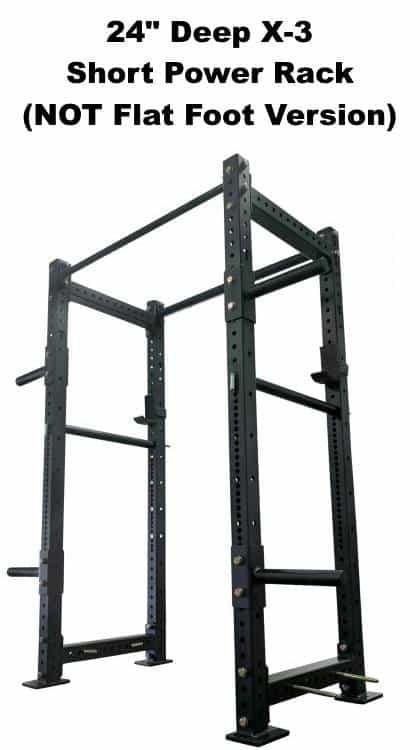 X-3 Short Power Rack - 24 Inch Depth - Side Angle View