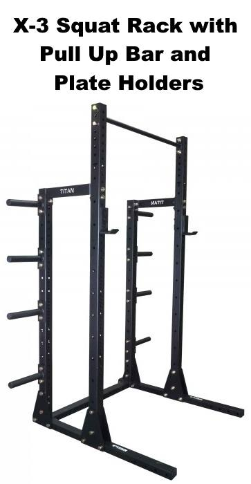 X-3 Squat Rack with Pull Up Bar and Plate Holders