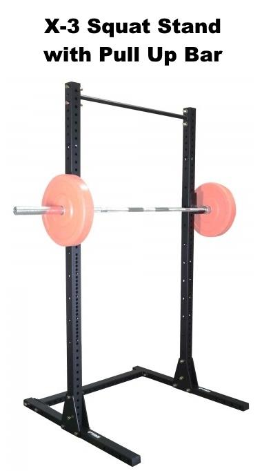 X-3 Squat Stand with Pull Up Bar - with Barbell