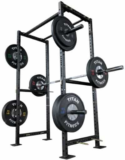 Titan X-2 Short Power Rack with Barbell and Platse on Weight Holders - Rear Angle View - 2