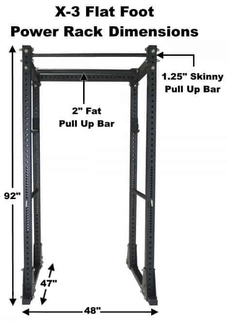 X-3 Flat Foot Power Rack Dimensions
