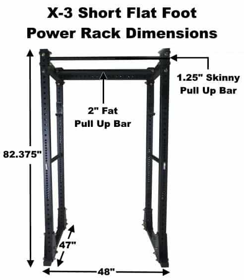 X-3 Short Flat Foot Power Rack Dimensions