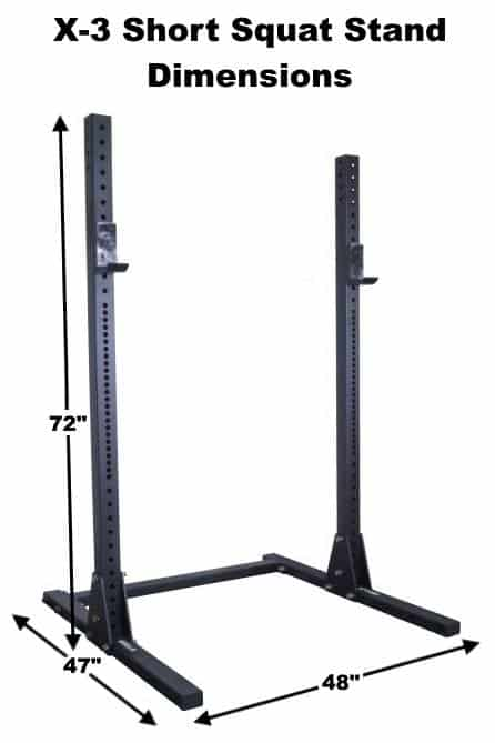 X-3 Short Squat Stand Dimensions