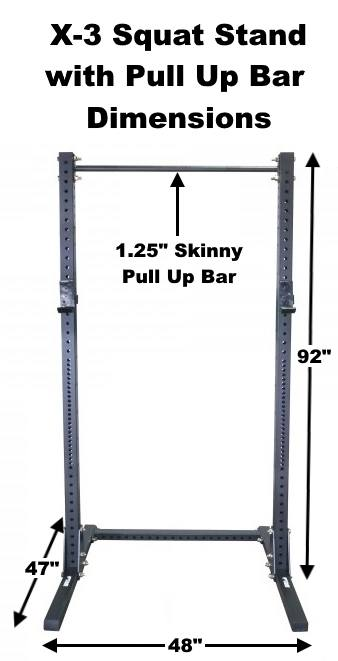 X-3 Squat Stand with Pull Up Bar Dimensions