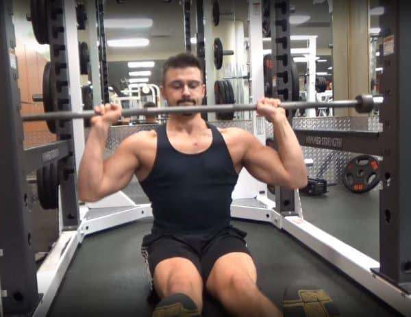 Barbell Z-Press Concentric - Elbows In - Front View