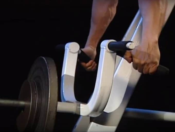 Chest Supported T-Bar Row - Setup - Grasping Handles - Closeup