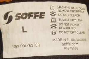 Soffe Infantry Shorts - Tag with Fabric Blend & Wash Instructions