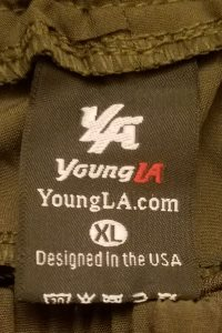 YoungLA Lifting Shorts - Tag with Fabric Blend & Wash Instructions - Front