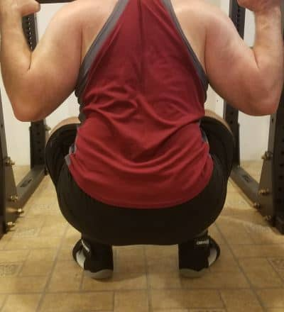 Squatting in A7 Center-stretch Shorts - Rear View - Bottom of Squat Rep