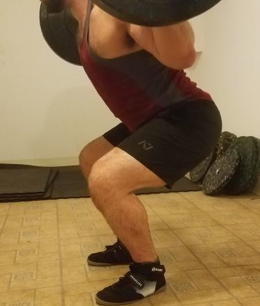 Squatting in A7 Center-stretch Shorts - Side View - Near Bottom of Squat Rep
