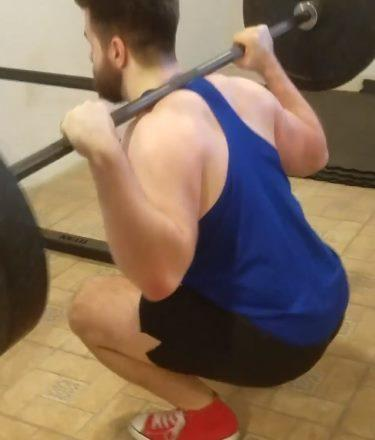Squatting in Soffe Infantry Shorts - Side View - Bottom of Squat Rep