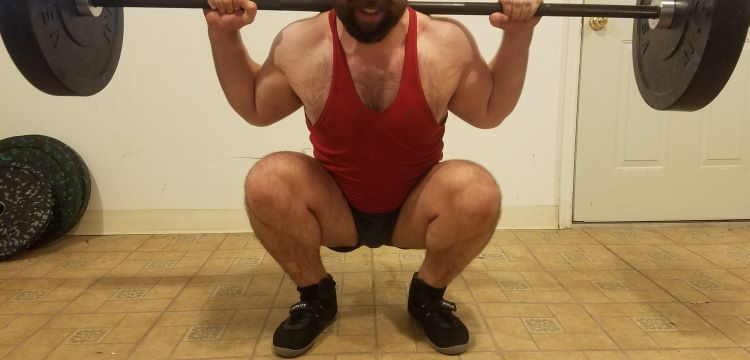 Squatting in Soffe Ranger Panty Shorts - Front View - Bottom of Squat Rep