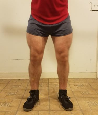 Squatting in Soffe Ranger Panty Shorts - Front View - Top of Squat Rep
