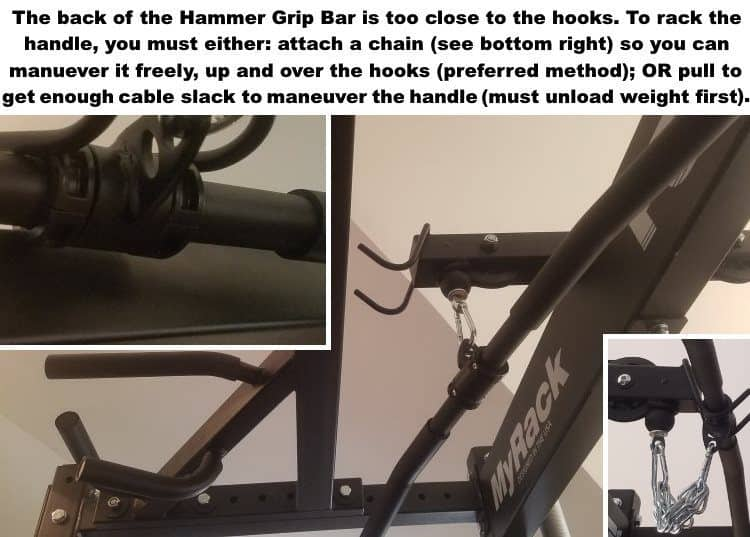 Force USA MyRack Hammer Grip Chin-up Bar Attachment - Installs Too Close to Lat Pulldown Bar Holder Hooks