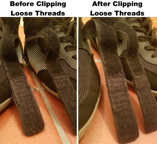 Before and After Clipping Loose Threads on Metatarsal Straps