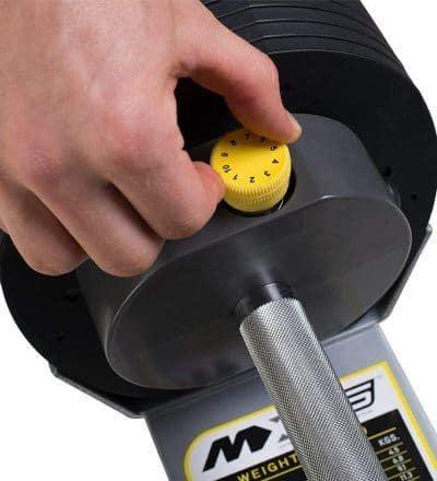 Adjusting Dial on MX Select MX55 Adjustable Dumbbells - Closeup