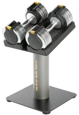 Gold's Gym Switch Plate 100 Adjustable Dumbbell Set with Stand