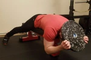 Weighted Lying Neck Extension Setup - Starting Position