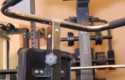 Ironmaster Dip Bar Attachment for Super Bench Pro - Rear View Showing Pop-Pin and Corner Tightening Knob