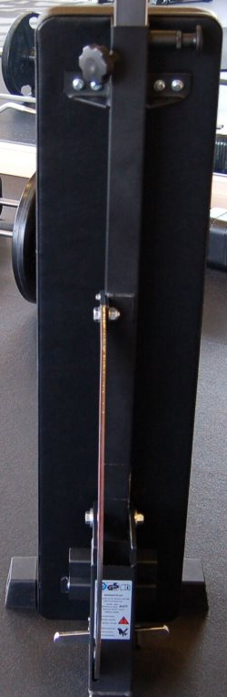 Underside of Back Pad on Ironmaster Super Bench Pro in Upright Position - Showing the Spine and Frame