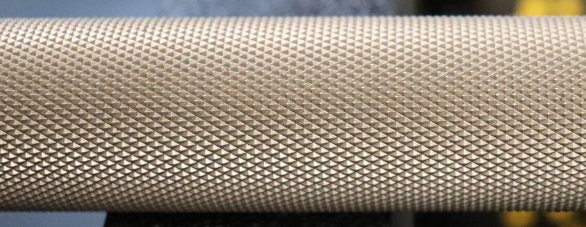 Rep Stainless Steel Deep Knurl Power Bar EX - Knurl Closeup
