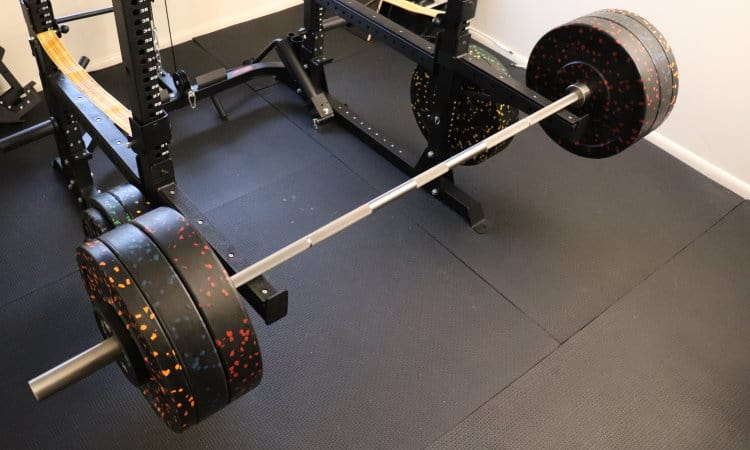 Rep Stainless Steel Deep Knurl Power Bar EX with Vulcan Bumper Plates