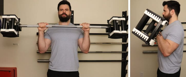 Reverse Barbell Curl - Concentric - Front and Side View