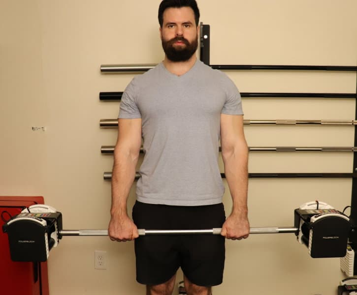 Reverse Barbell Curl Starting Position