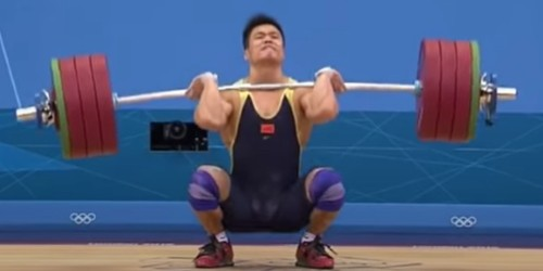 Lu Xiaojun - Barbell Whip During World Record 204 kg Clean and Jerk