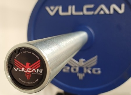 Sleeve and End Cap on the Vulcan Elite Powerlifting Barbell